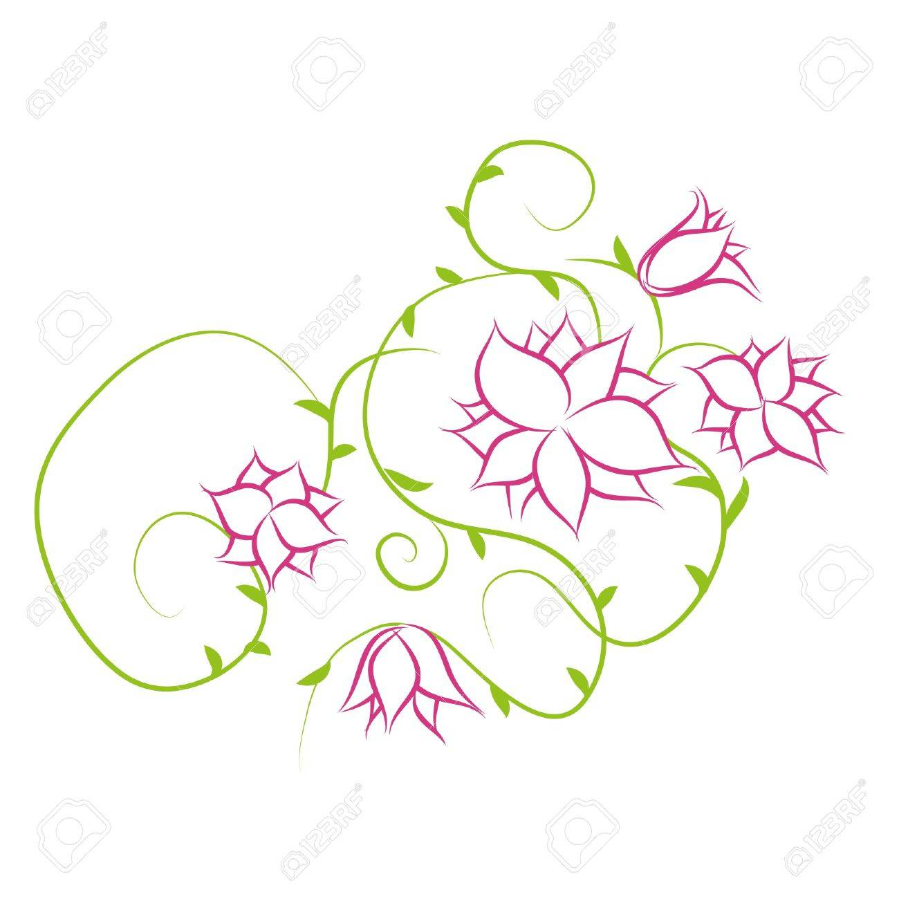 Beautiful flowers on white background (illustration) - 7793002