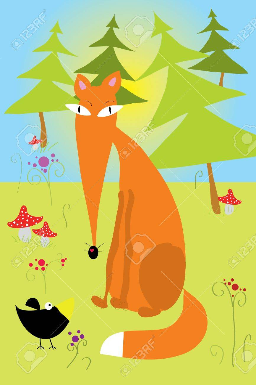 Fox, tree and some crows on yellow background Stock Vector - 7793127