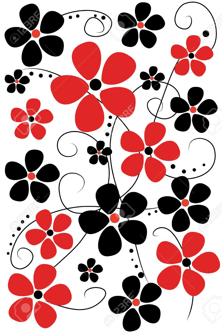 Beautiful Red And Black Flowers On White Background Royalty Free