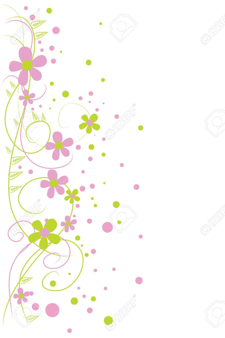 beautiful green and pink flowers on white background Stock Vector - 7925899