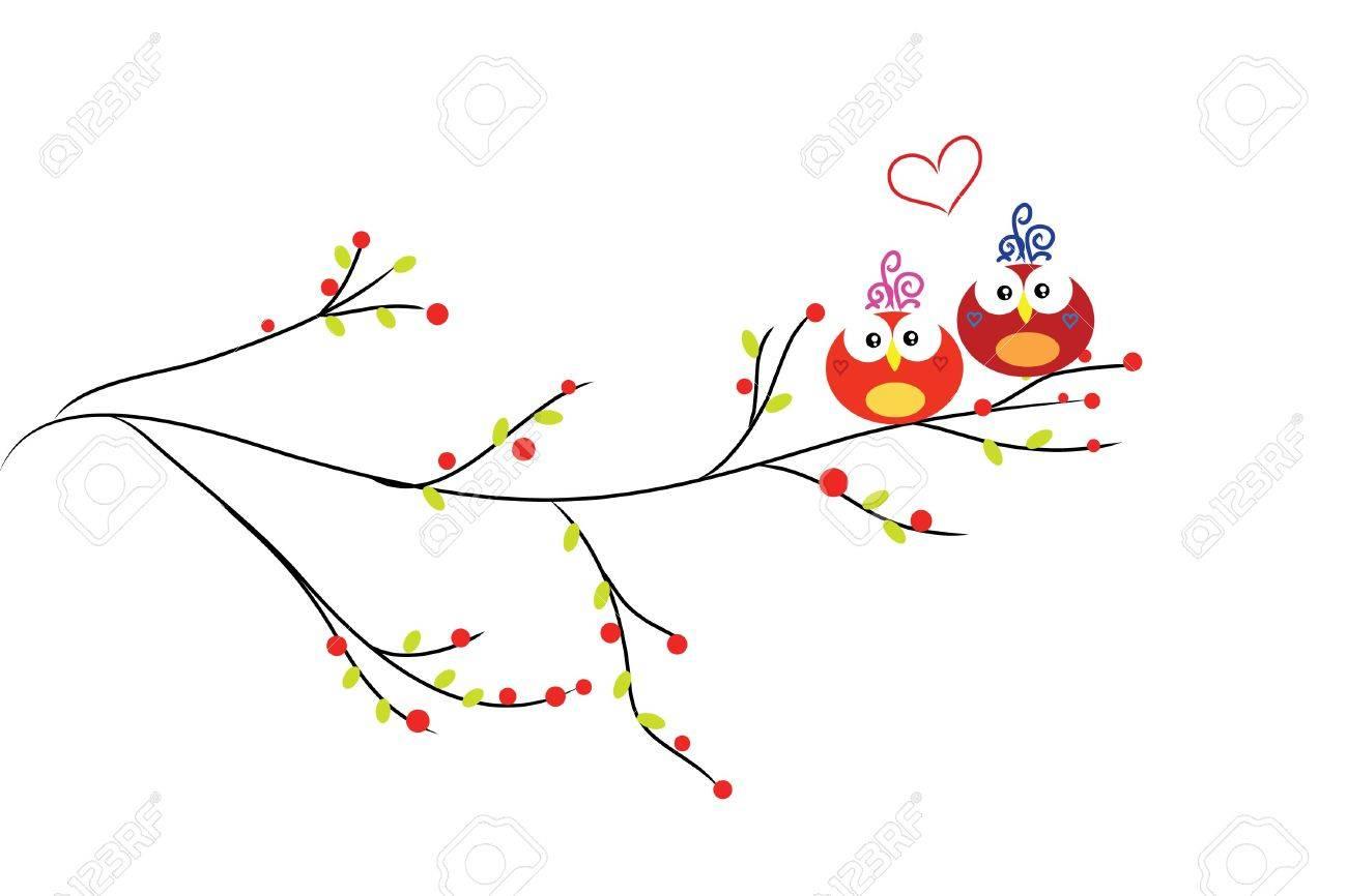 beautiful love couple bird on abstract bright tree Stock Vector - 7958162