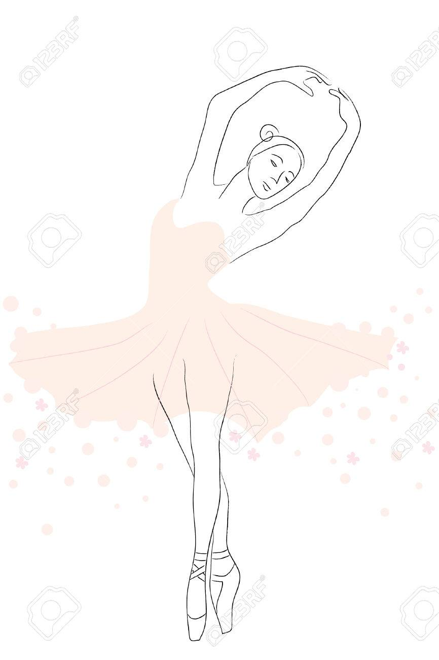 contour of beautiful flexible ballerina in tutu Stock Vector - 8301819