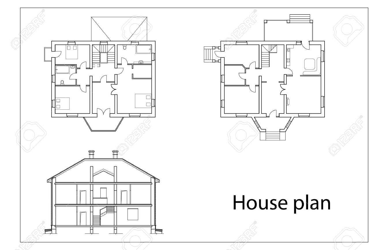 Vector House Plans. Black Outlines On White Background Royalty Free ...