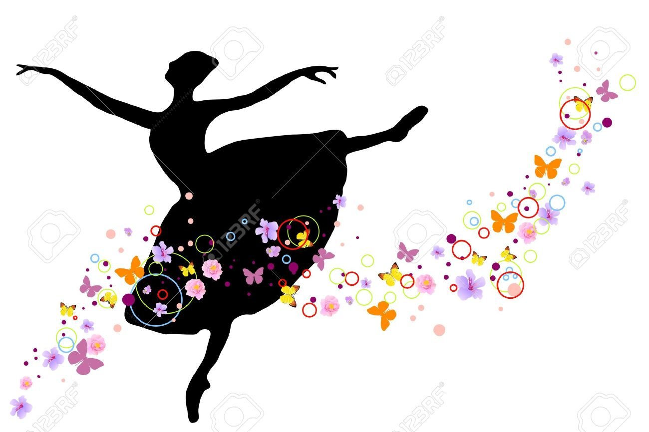 silhouette of ballerina with flowers on white background Stock Vector - 9510459