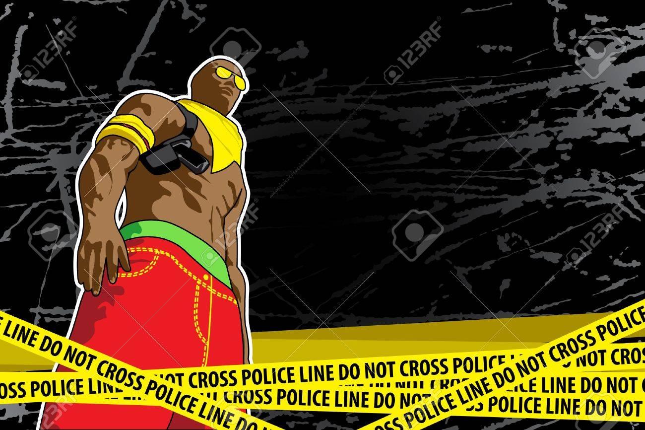 Police line (do not cross) on black background Stock Vector - 9624015