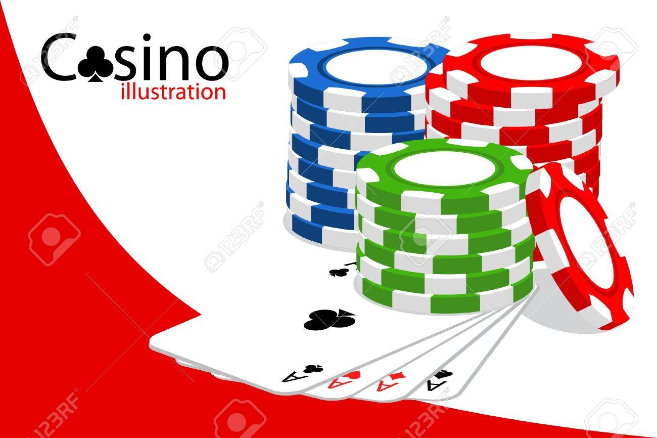 Casino (some chips on white background) Stock Vector - 9806630