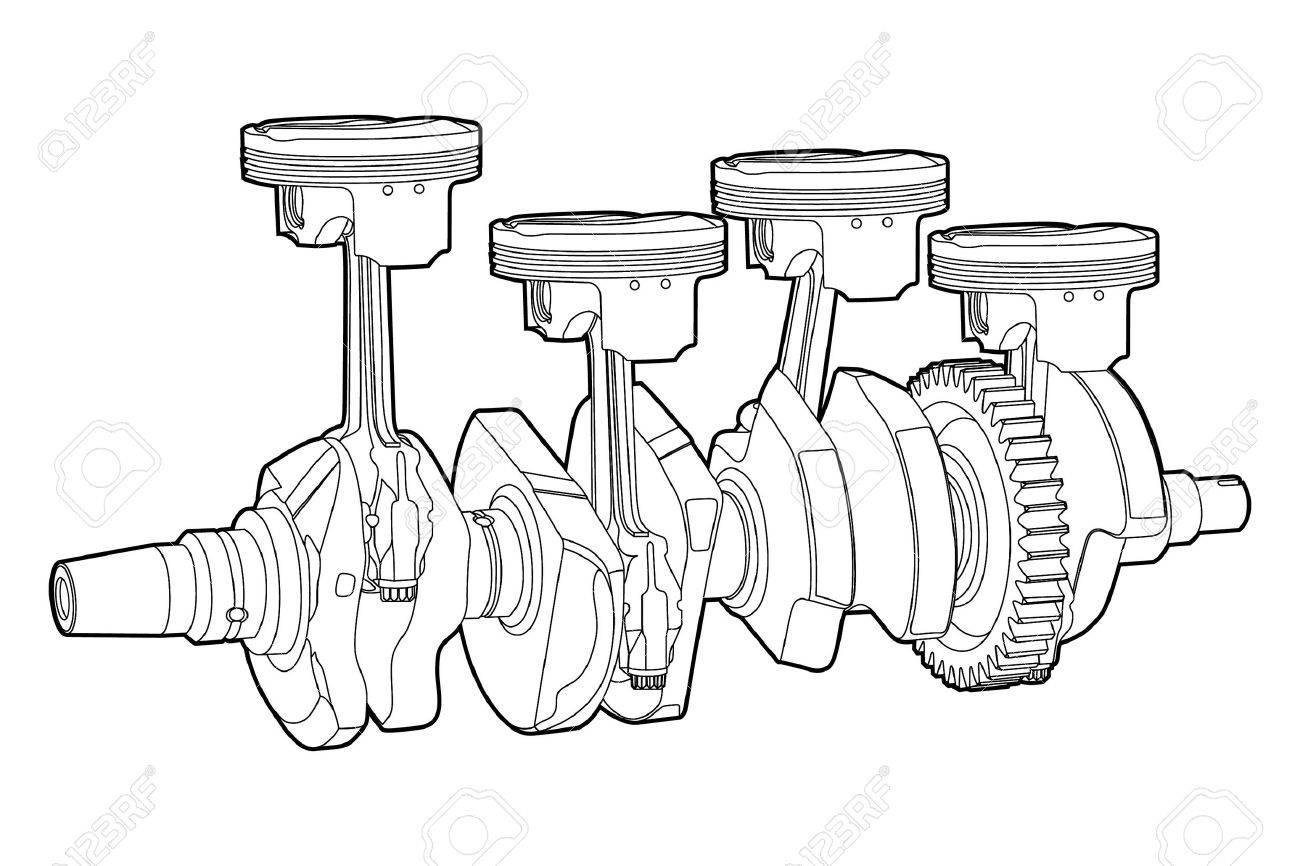 Black outline vector illustration (engine pistons) Stock Vector - 10391390