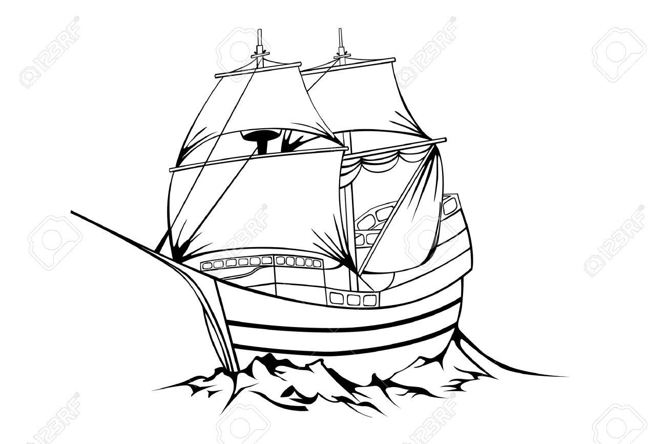 Vintage Sailboat Sketch Vector - black sailboat on