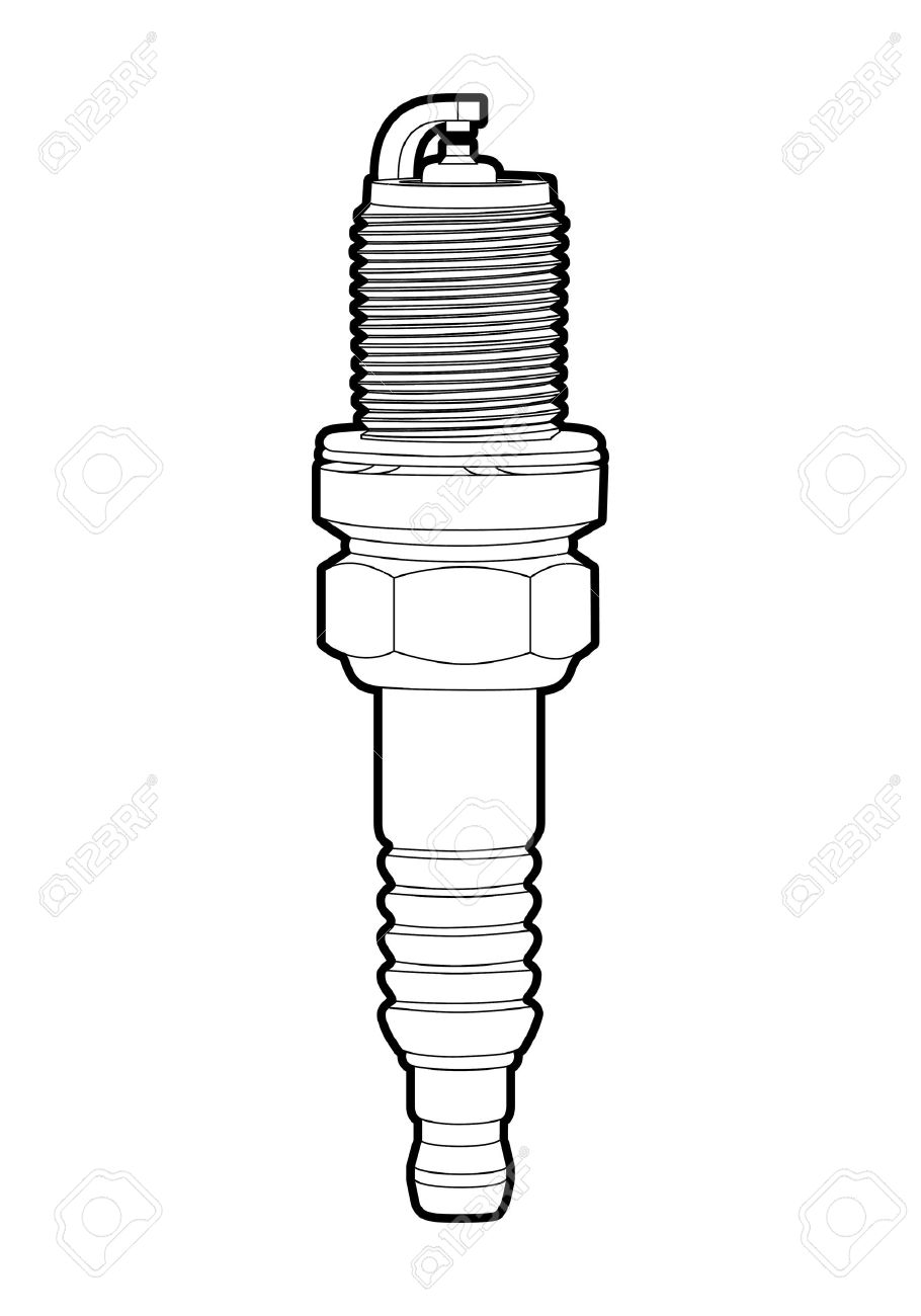 outline spark-plug on white background Stock Vector - 10697003
