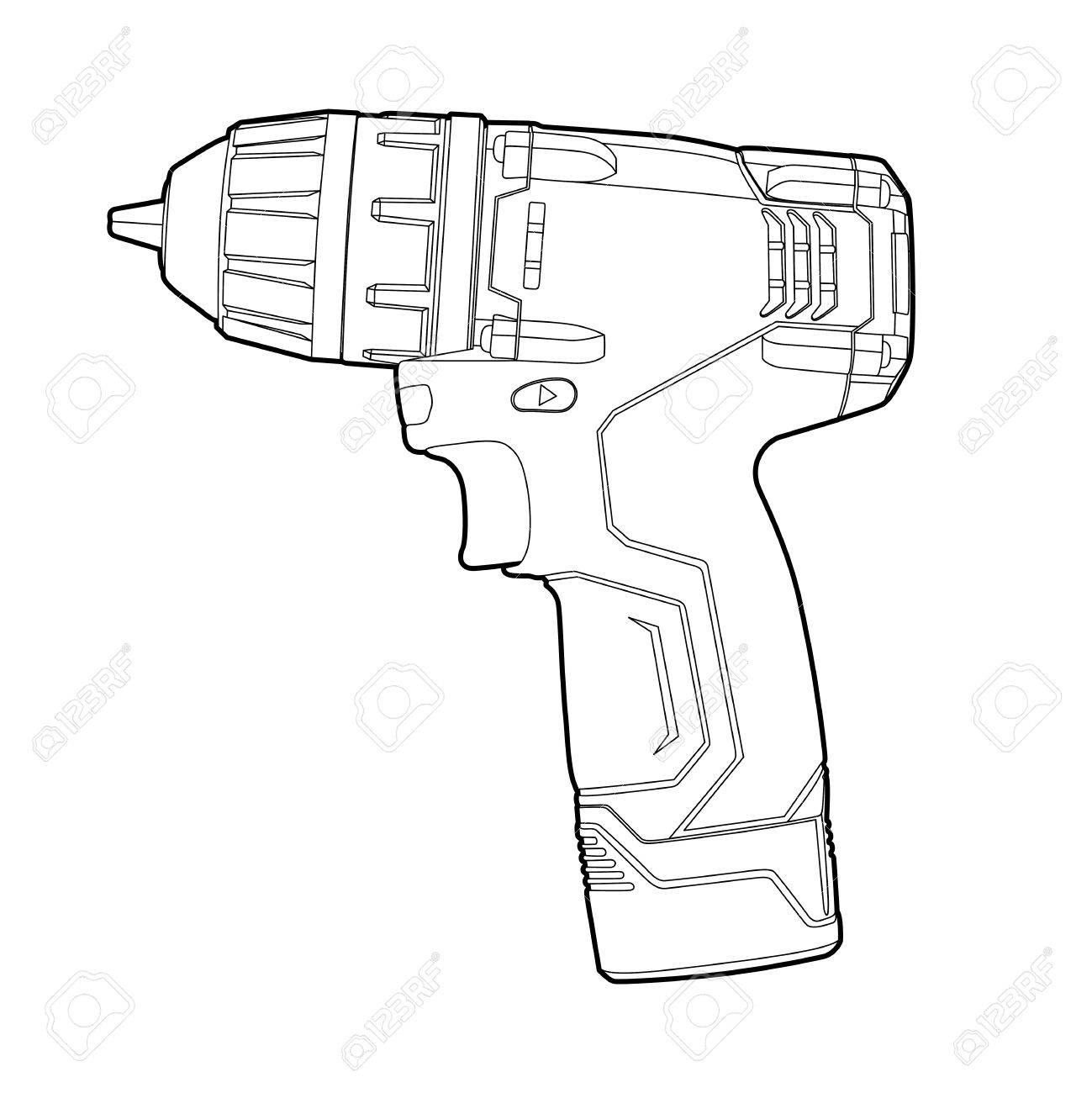 cordless drill drawing. black outline cordless drill on white stock vector - 10697001 drawing l
