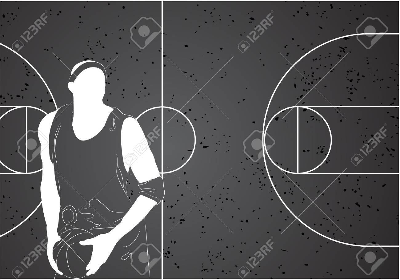 basketball player on gray background Stock Vector - 10696992