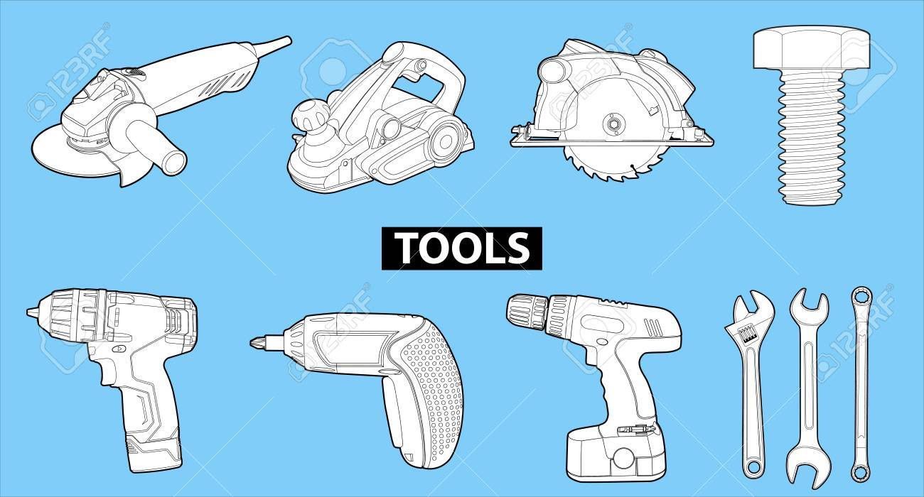 tools on blue Stock Vector - 13198581