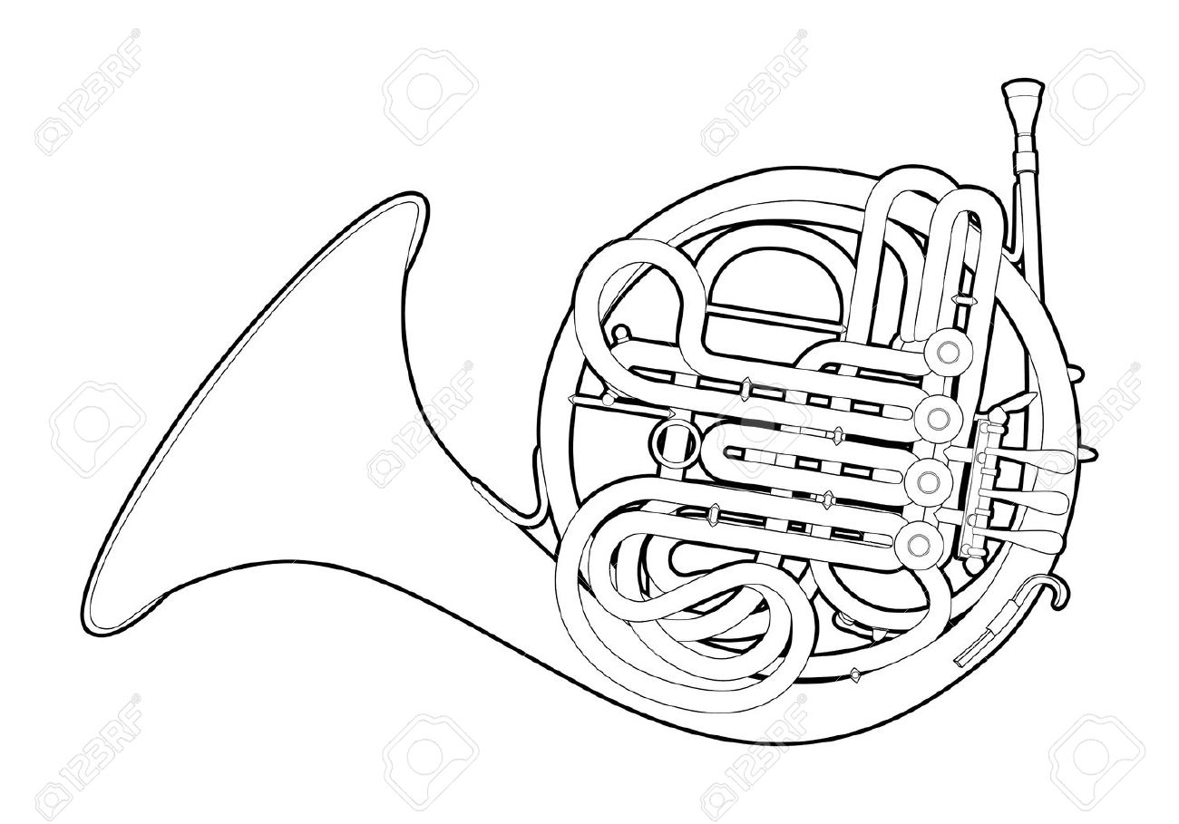 Outline French horn Stock Vector - 13835903