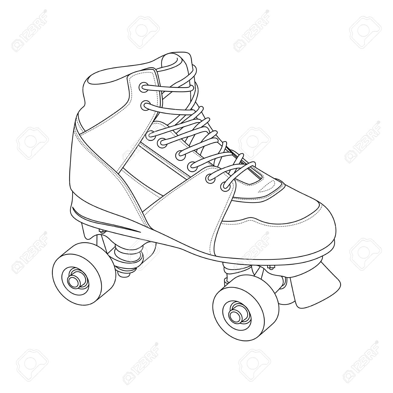 Roller skates book - Roller Skates Outline Roller Skate On White Background