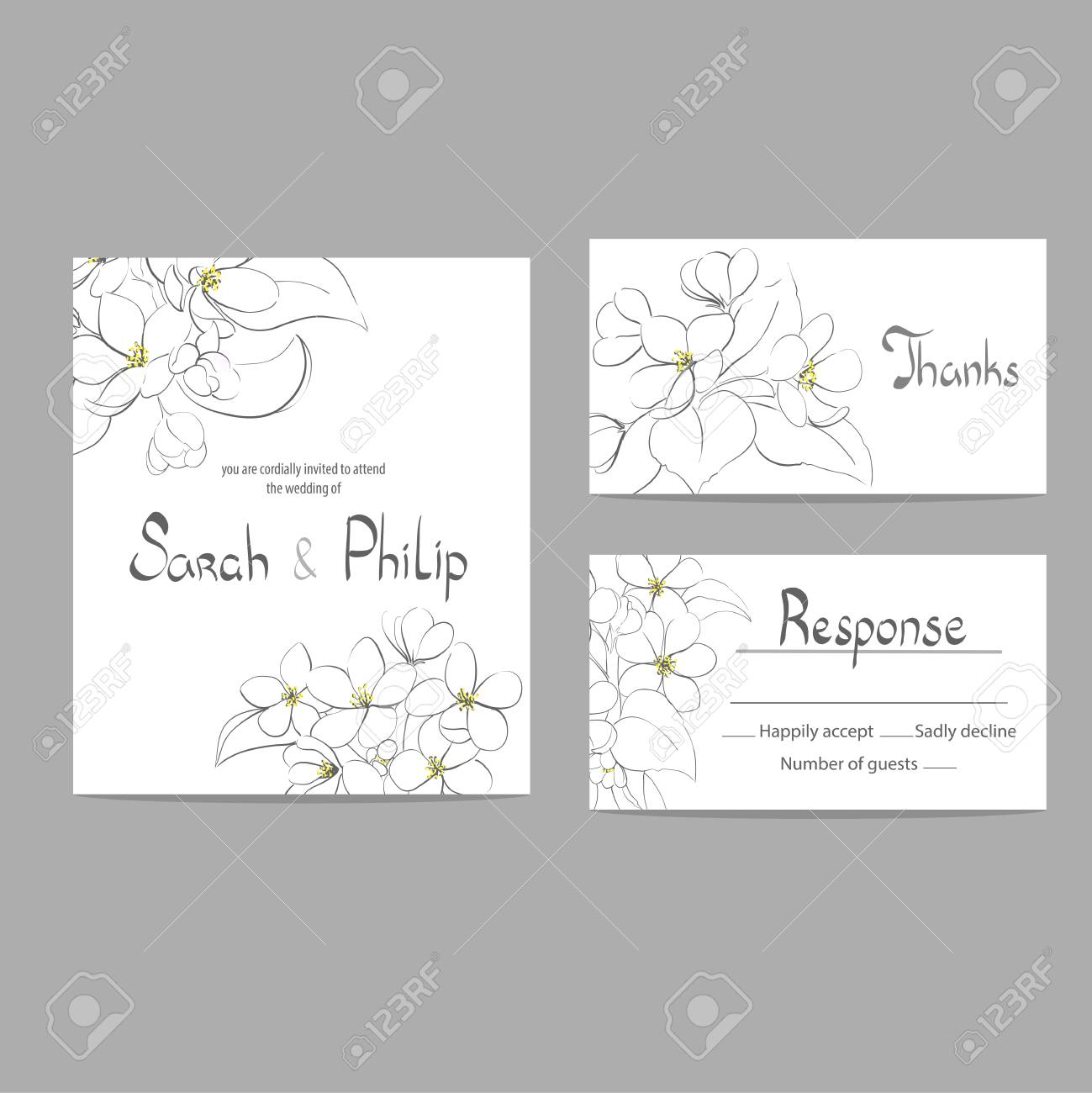 Bright Floral Wedding Invitation Card Template Royalty Free Cliparts ...