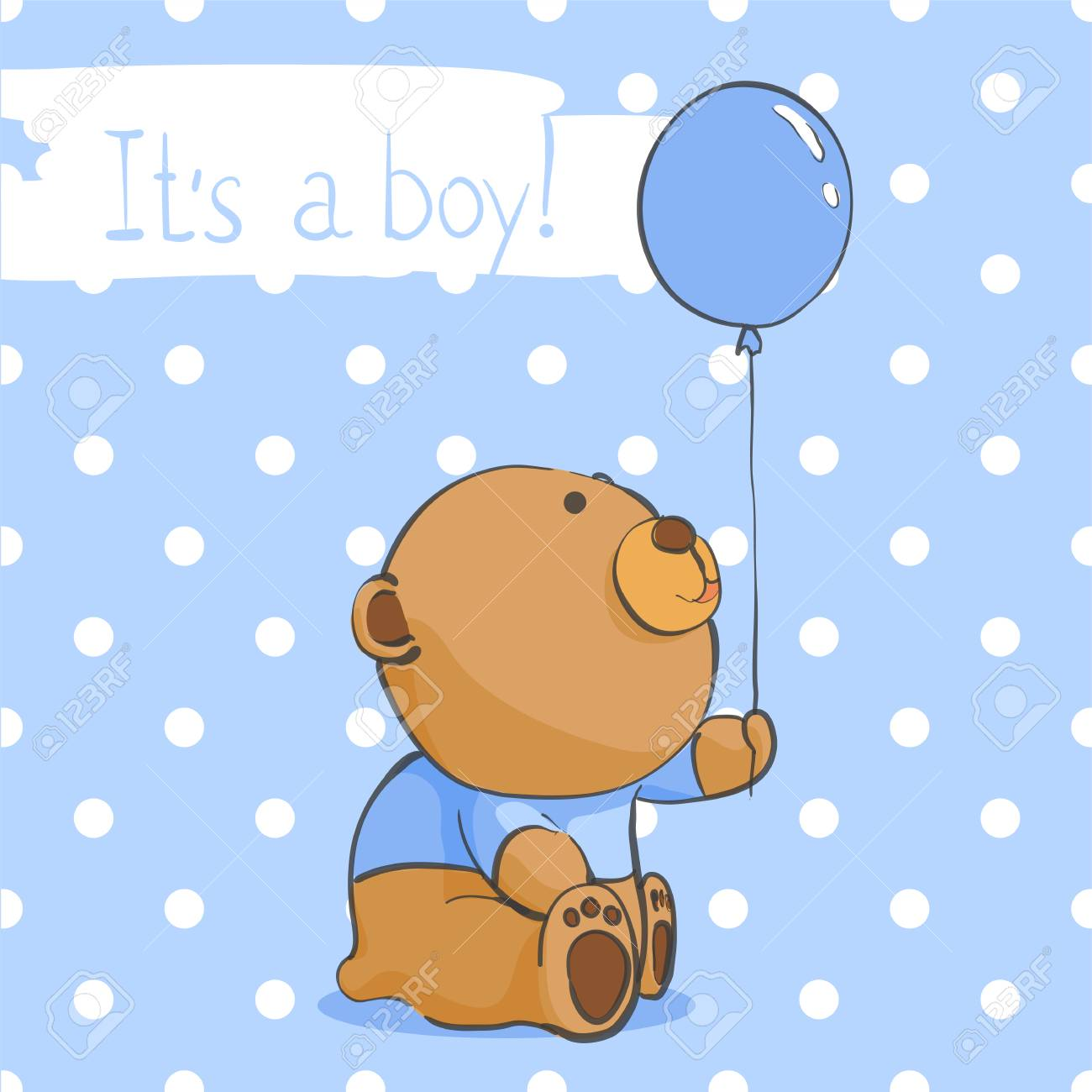 Cute Bear On A Blue Background In Peas Royalty Free Cliparts