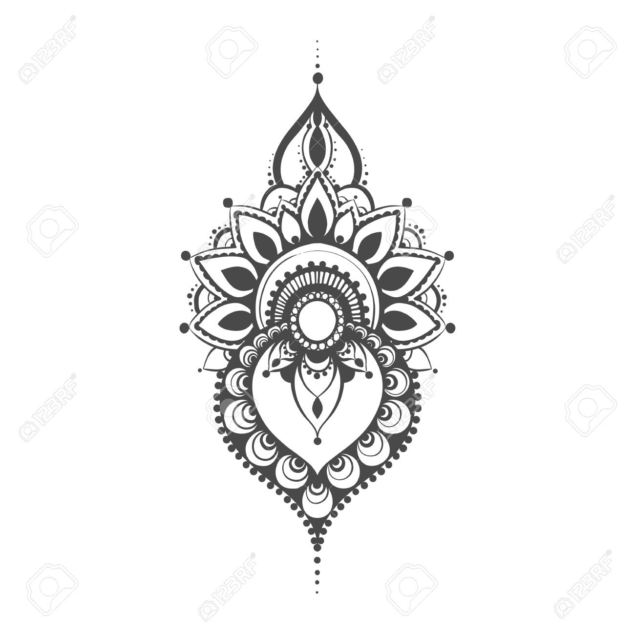 Vector Henna Black Mehndi Illustration On White Background Royalty