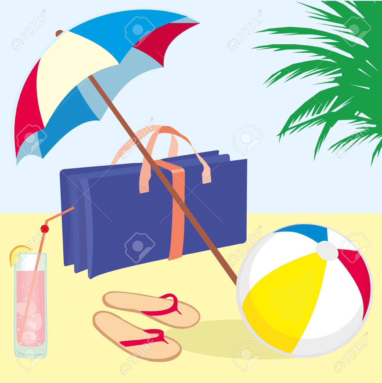 Sonnenschirm strand clipart  Summer Vacation Beach With Flip Flops, Beach Ball, Cocktail ...