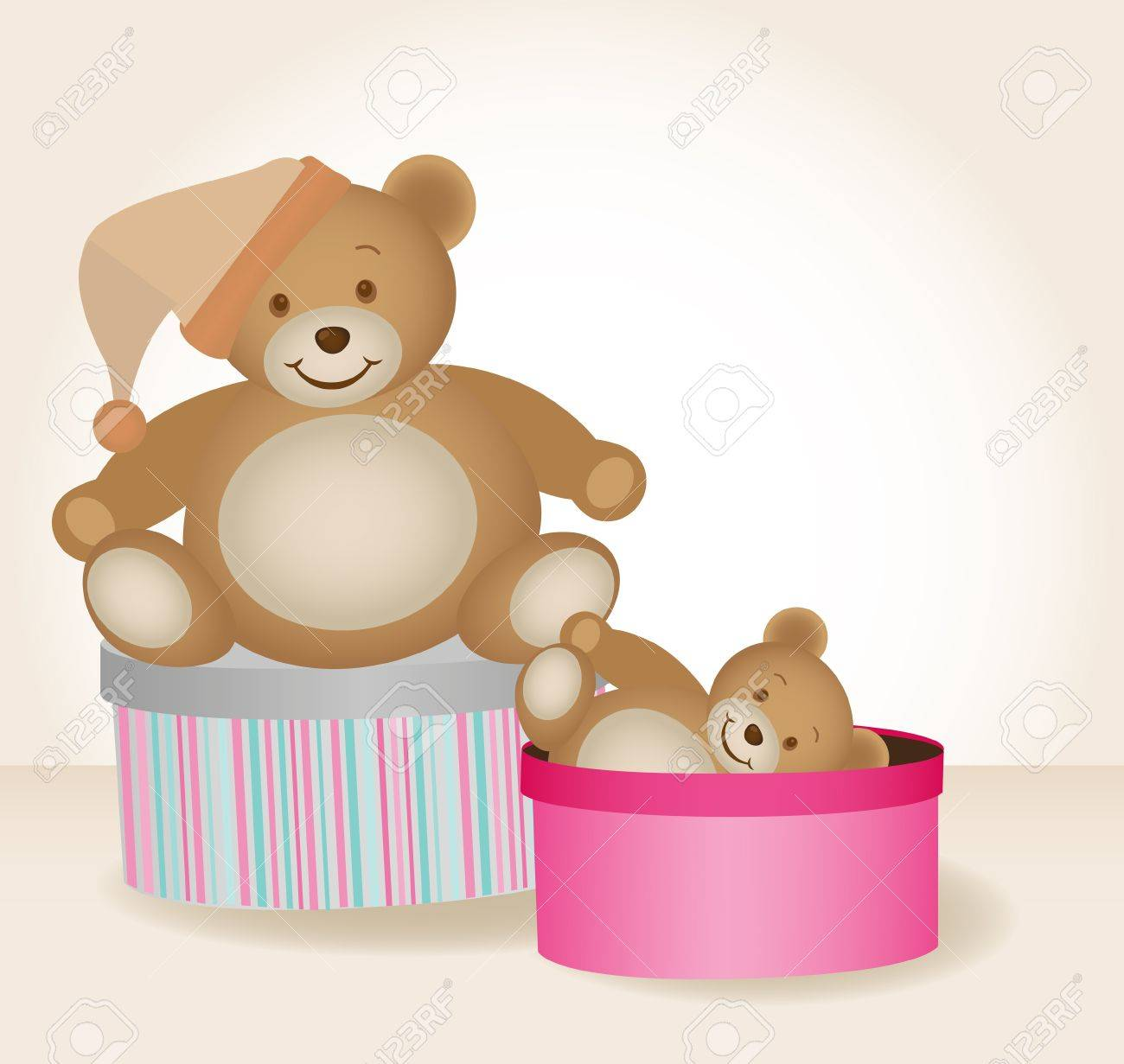 two cute teddy bears in gift boxes isolated Stock Vector - 10031636