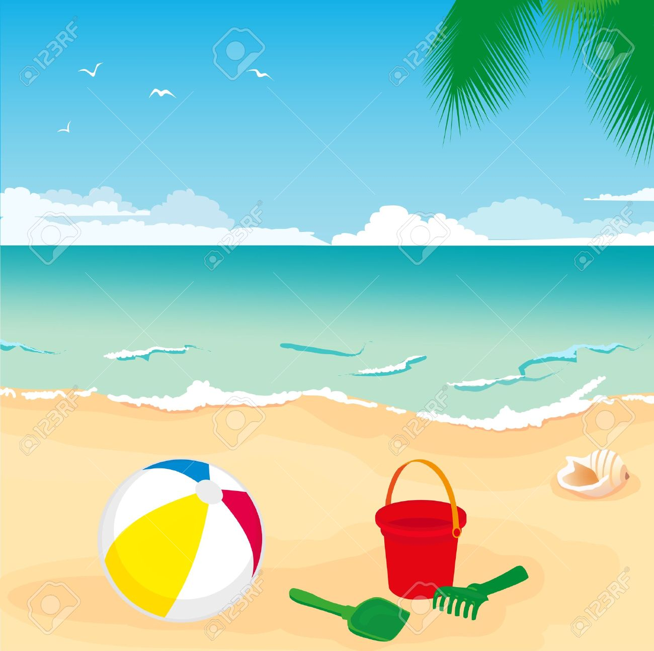 illustration of colorful toys lying on the sand by the sea Stock Vector - 10179036