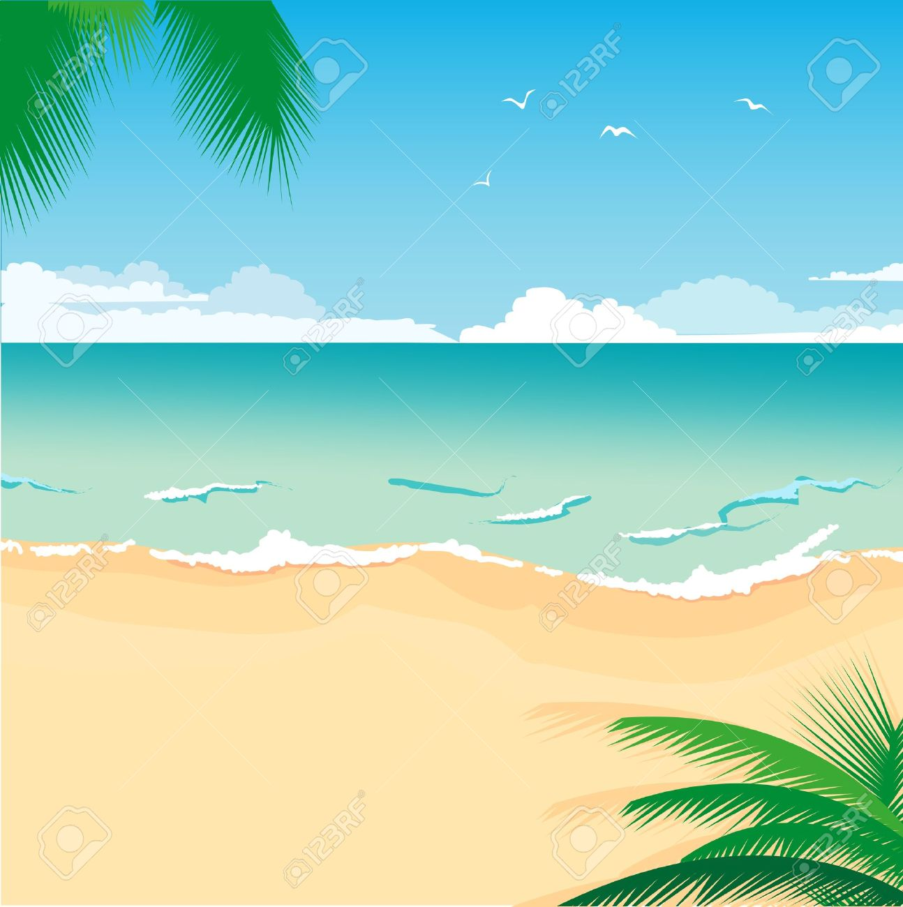 illustration of a tropical sea beach for summer design royalty free