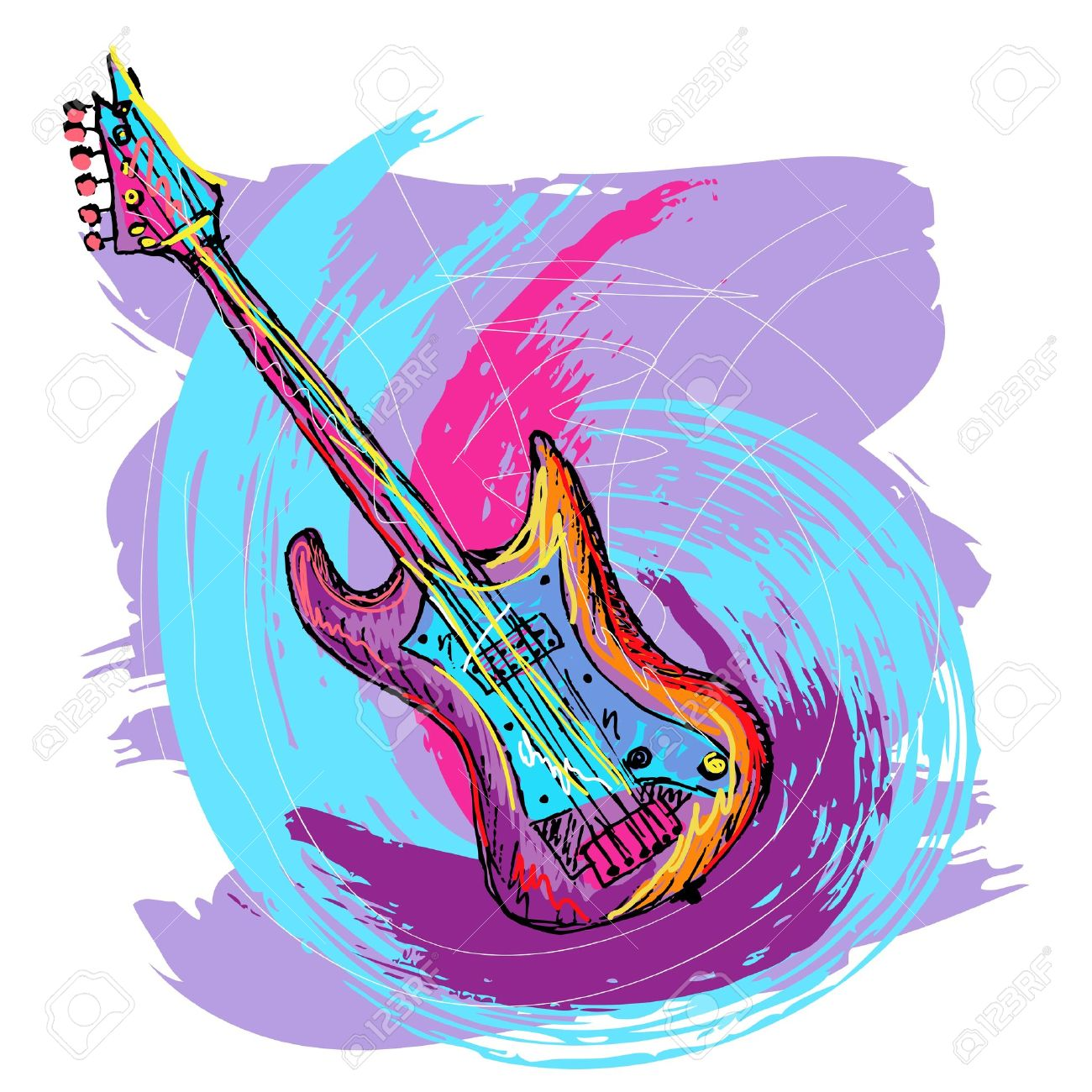 hand drawn colorful illustration of electric guitar, created as very artistic painterly, for your design, easy to edit - 10829938