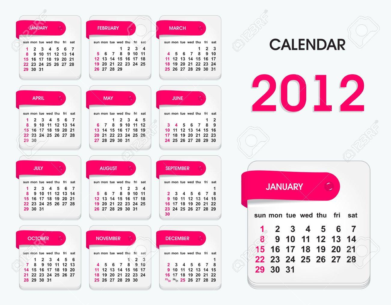 stylish calendar for 2012, all elements are in separate layers and grouped, easy to edit Stock Vector - 10874804