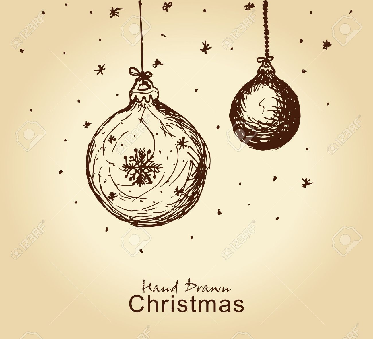 Hand Drawn Vintage Christmas Balls For Xmas Design Stock Vector