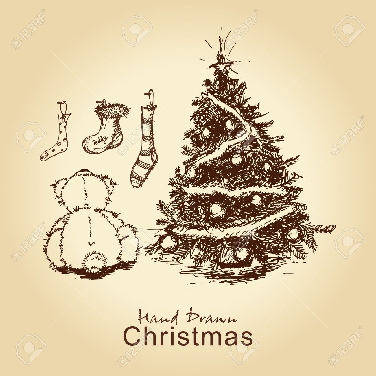 Hand Drawn Vintage Christmas Card With Teddy And Christmas Tree, For Xmas  Design Stock Vector