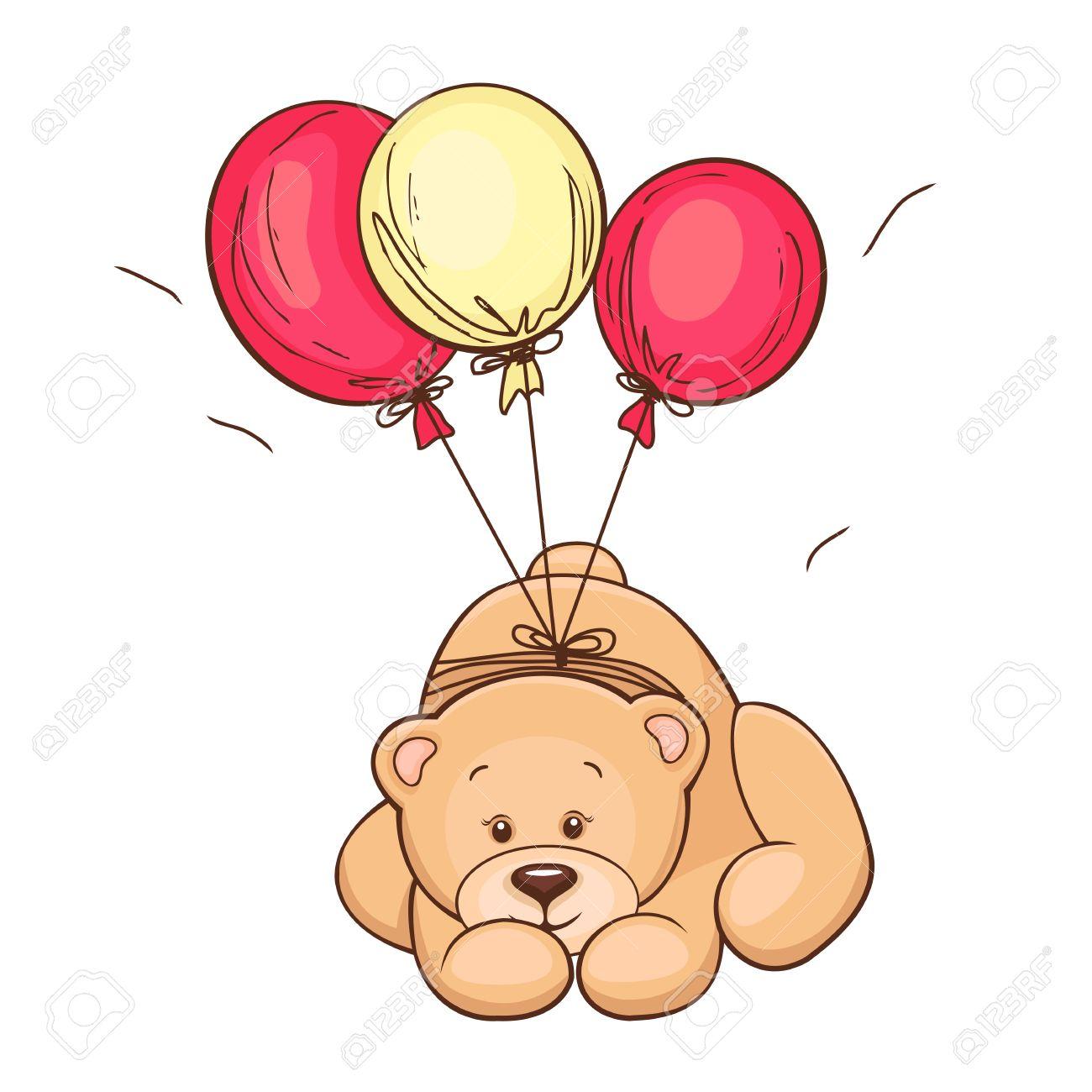 Hand drawn cute Teddy Bear and balloons  Vector illustration Stock Vector - 12863461