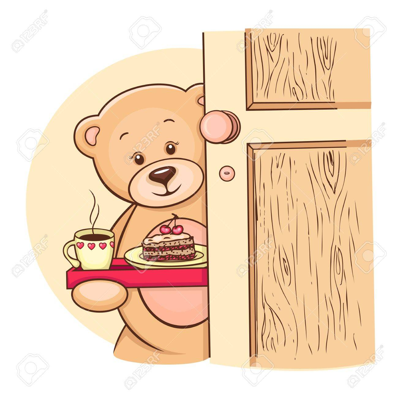 Hand drawn Teddy Bear holding tray with breakfast, vector illustration for your design Stock Photo - 13057881