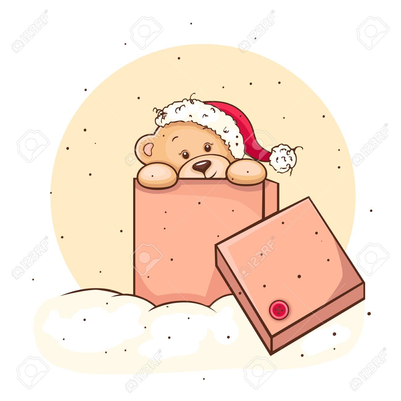Illustration Of Cute Christmas Teddy Bear In Box, For Xmas Design ...