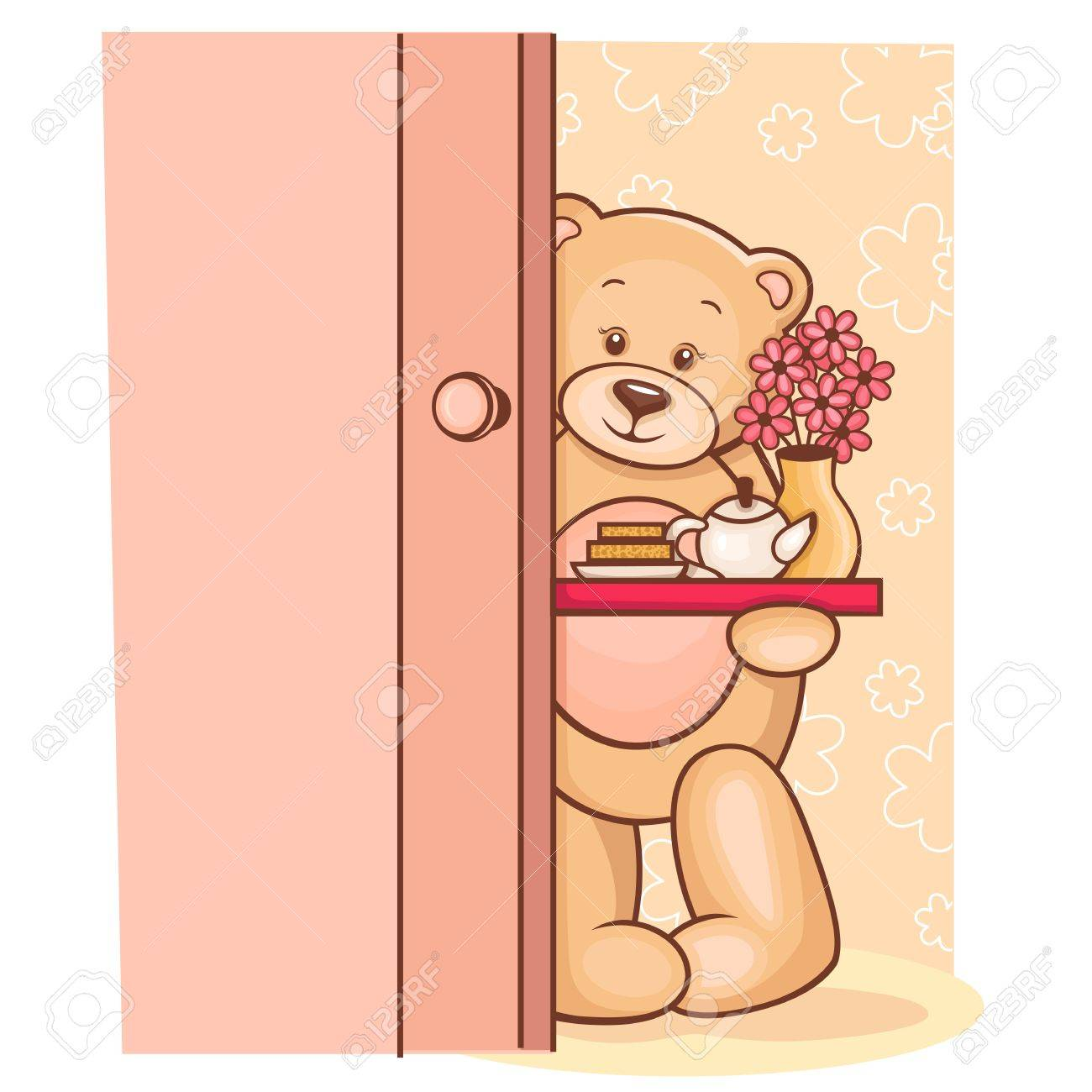 Illustration of cute Teddy Bear holding a breakfast tray with flowers Stock Illustration - 13195386