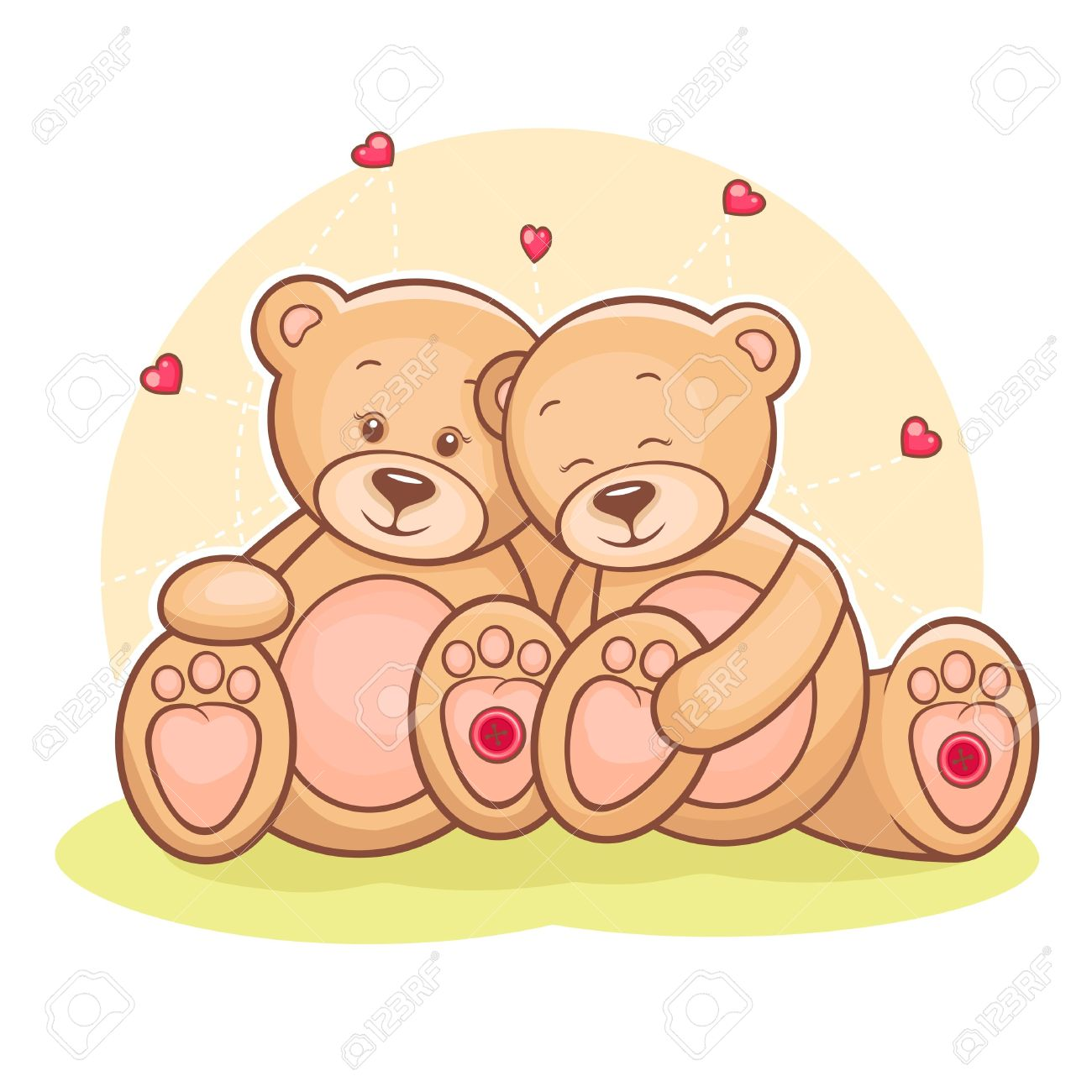 Illustration of loving couple Teddy bears with hearts Stock Vector - 13262348