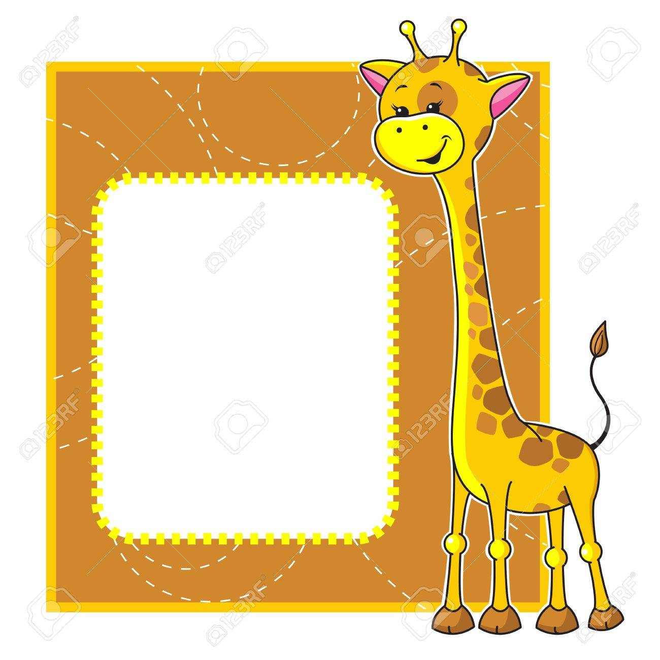 Cute Cartoon Frame With Little Giraffe Royalty Free Cliparts ...