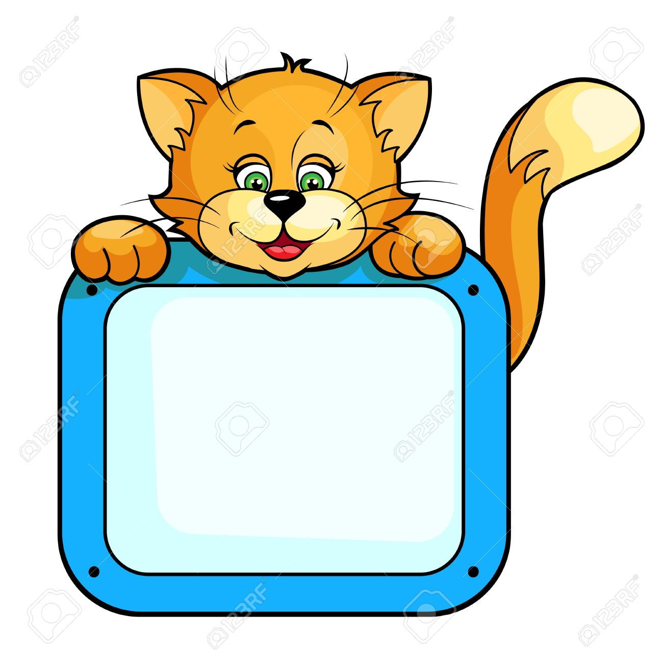 Cute cartoon vector illustration of Cat with frame  Isolated on white Stock Vector - 13910293
