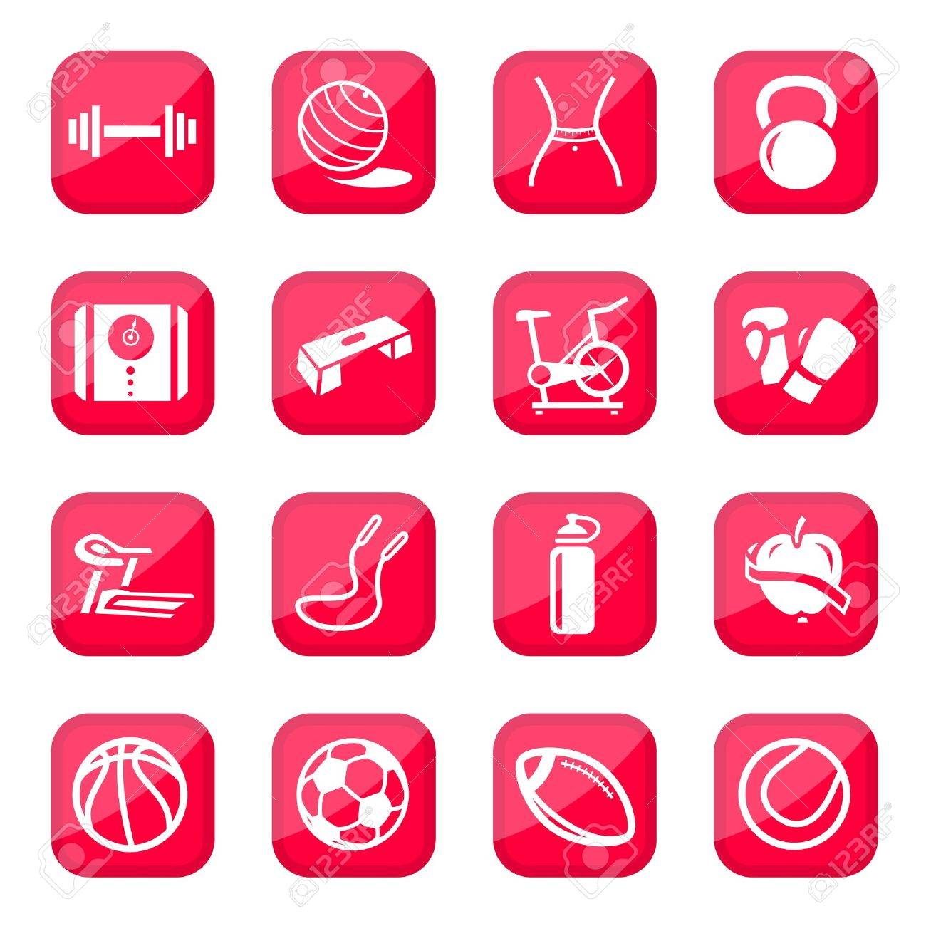Fitness and Sport icon set for web and mobile  All elements are grouped Stock Vector - 14774264