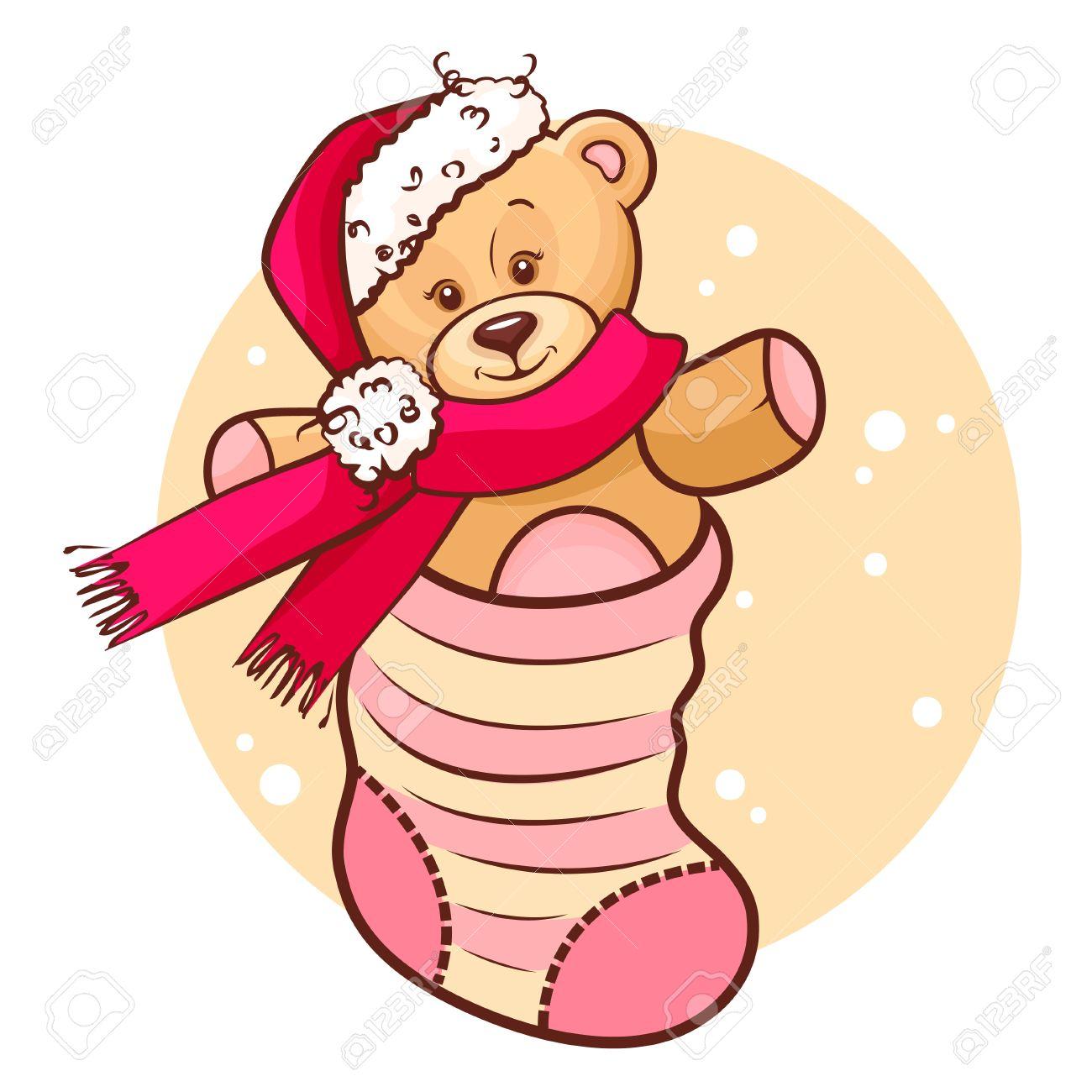 靴下でかわいいクリスマスのテディベア赤ちゃんのイラスト