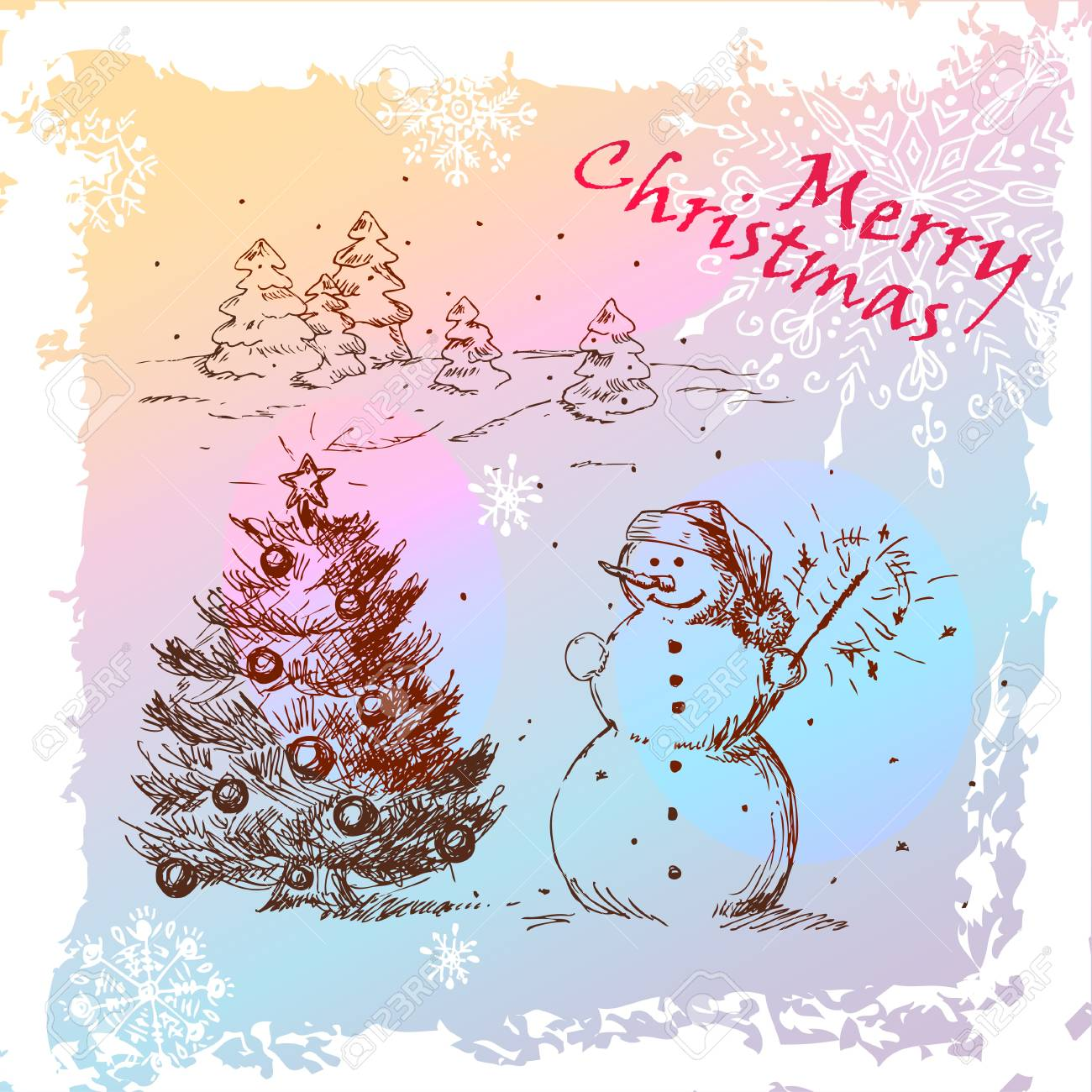 Christmas Hand Drawn Illustration With Snowman And Christmas Tree, for xmas design Stock Vector - 16666678