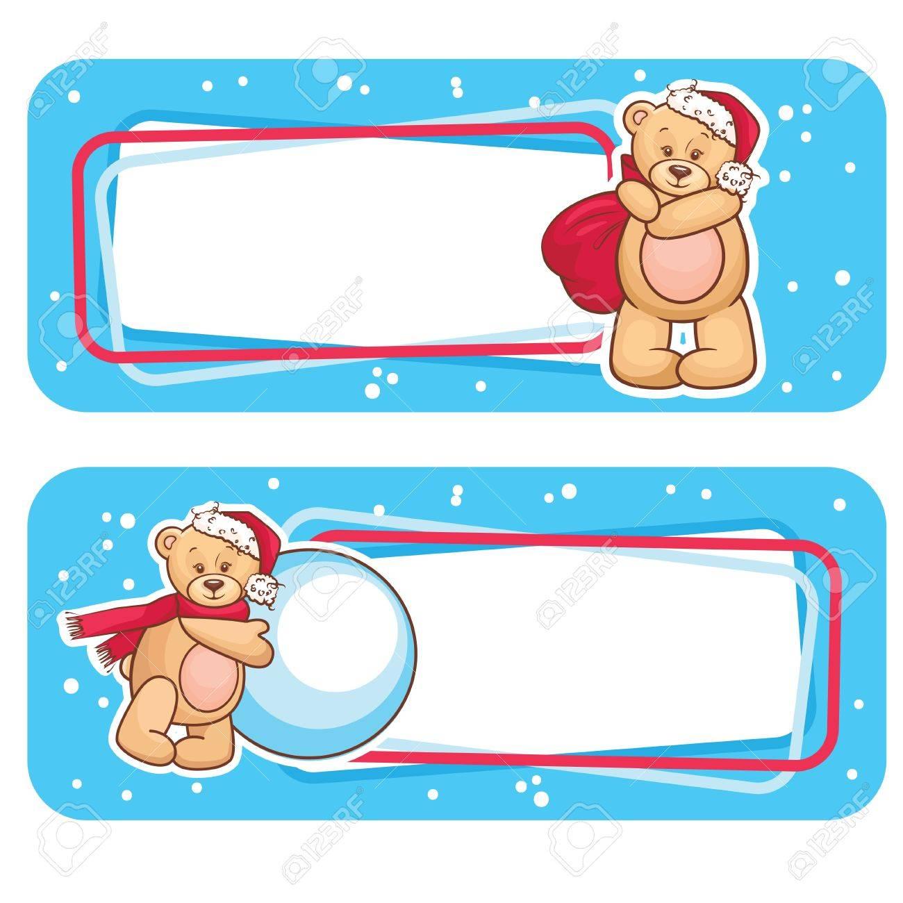 Christmas Season Banner, Winter Labels with Teddy Bear Stock Vector - 16750662