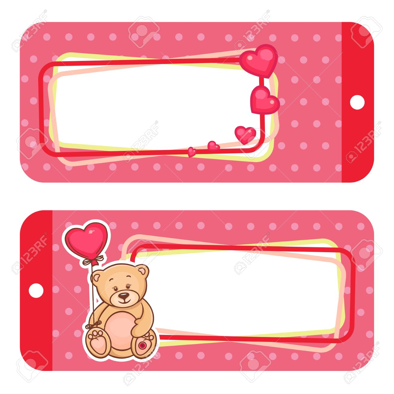 Valentine Gift Tags With Cute Valentine Teddy Bear Royalty Free
