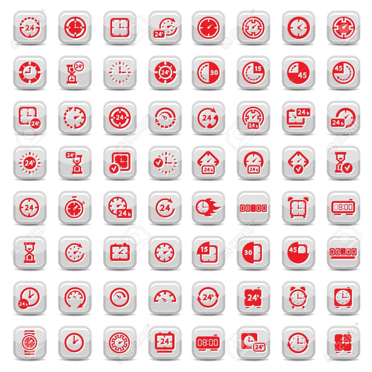 Big Clock Icon Set for web and mobile  All elements are grouped Stock Vector - 17560324
