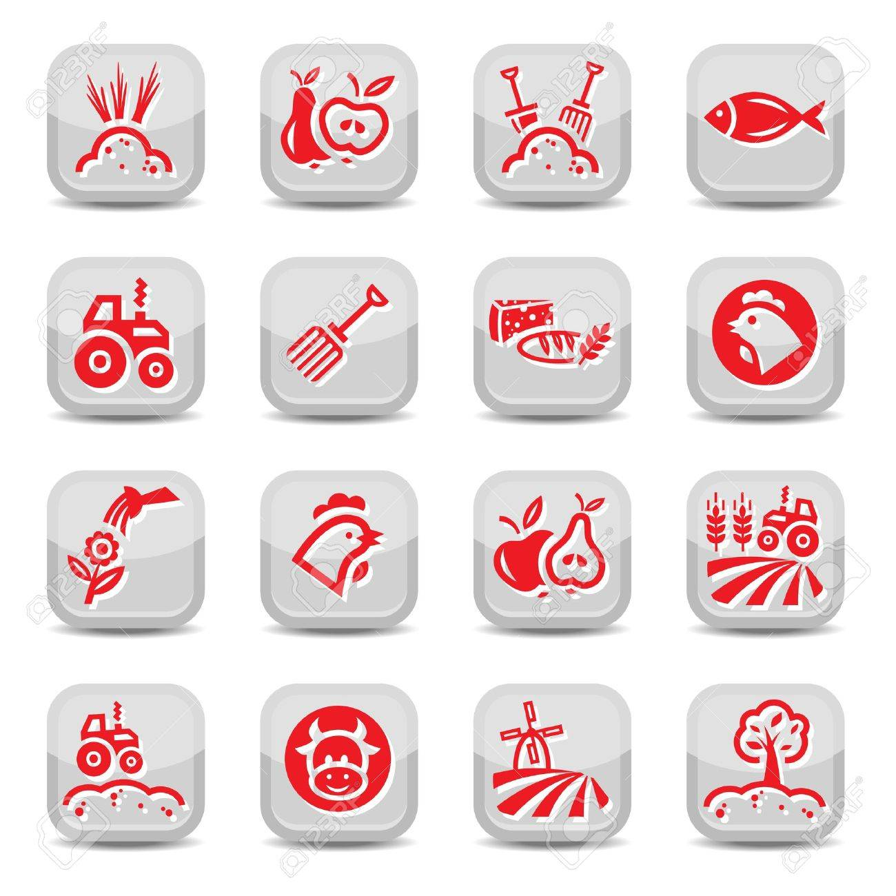 Agriculture And Farming Icons Set for web and mobile  All elements are grouped Stock Vector - 17682108
