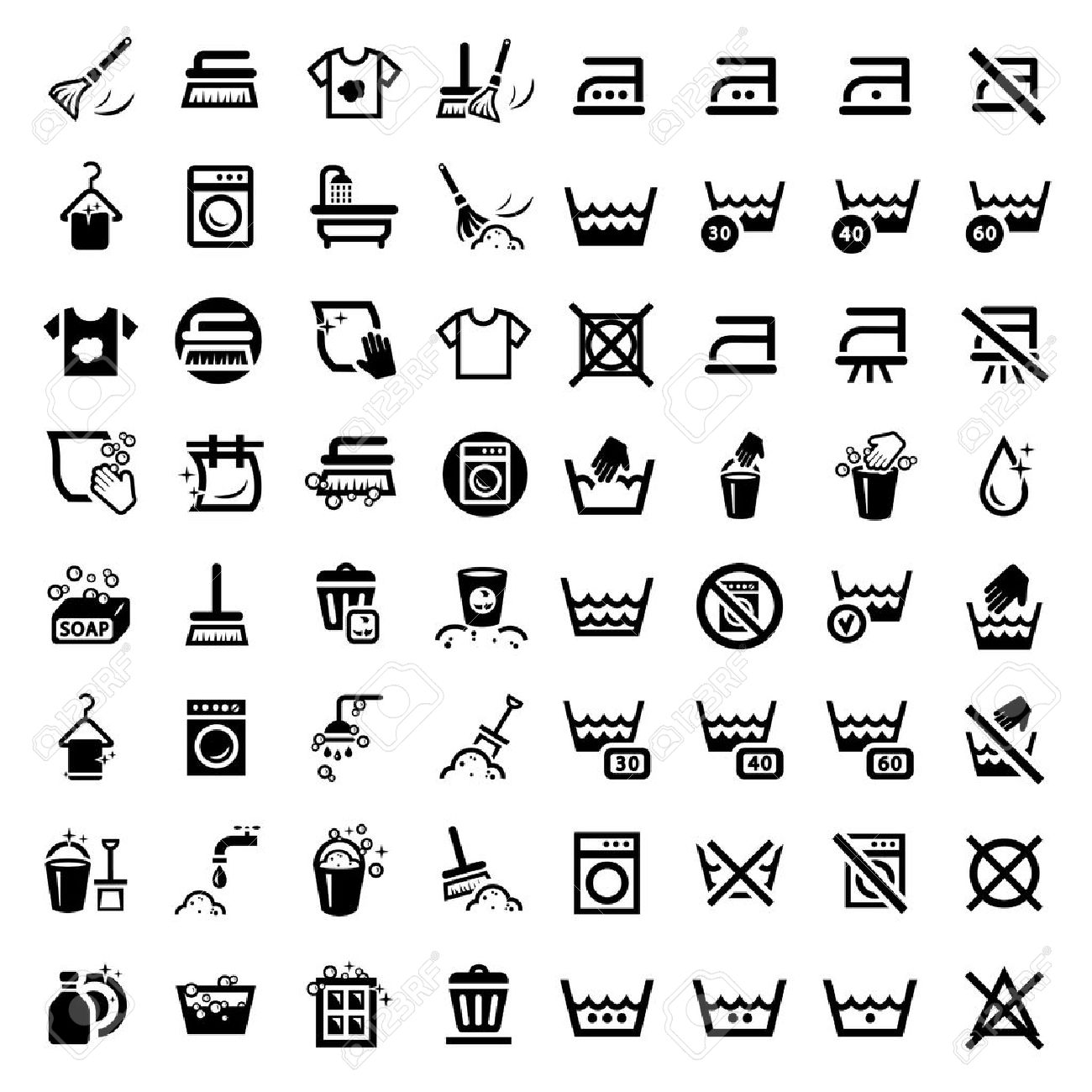 64 laundry and washing icons for web and mobile all elements