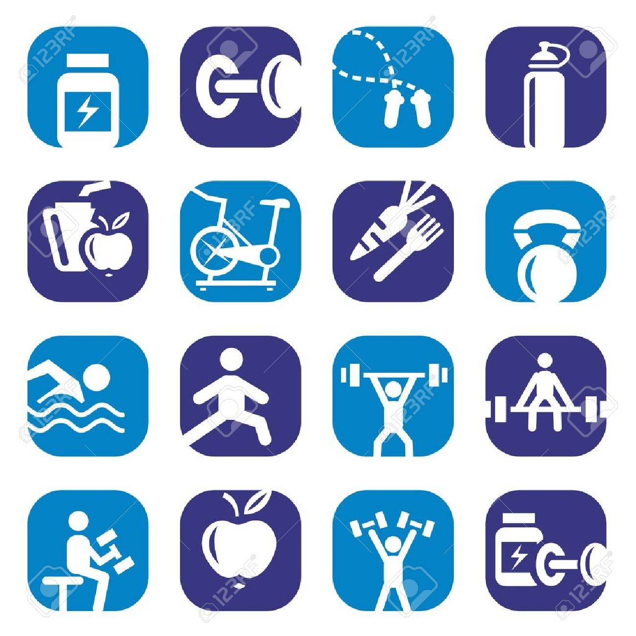 Elegant Colorful Fitness Icons Set Created For Mobile, Web And Applications Stock Vector - 18549571