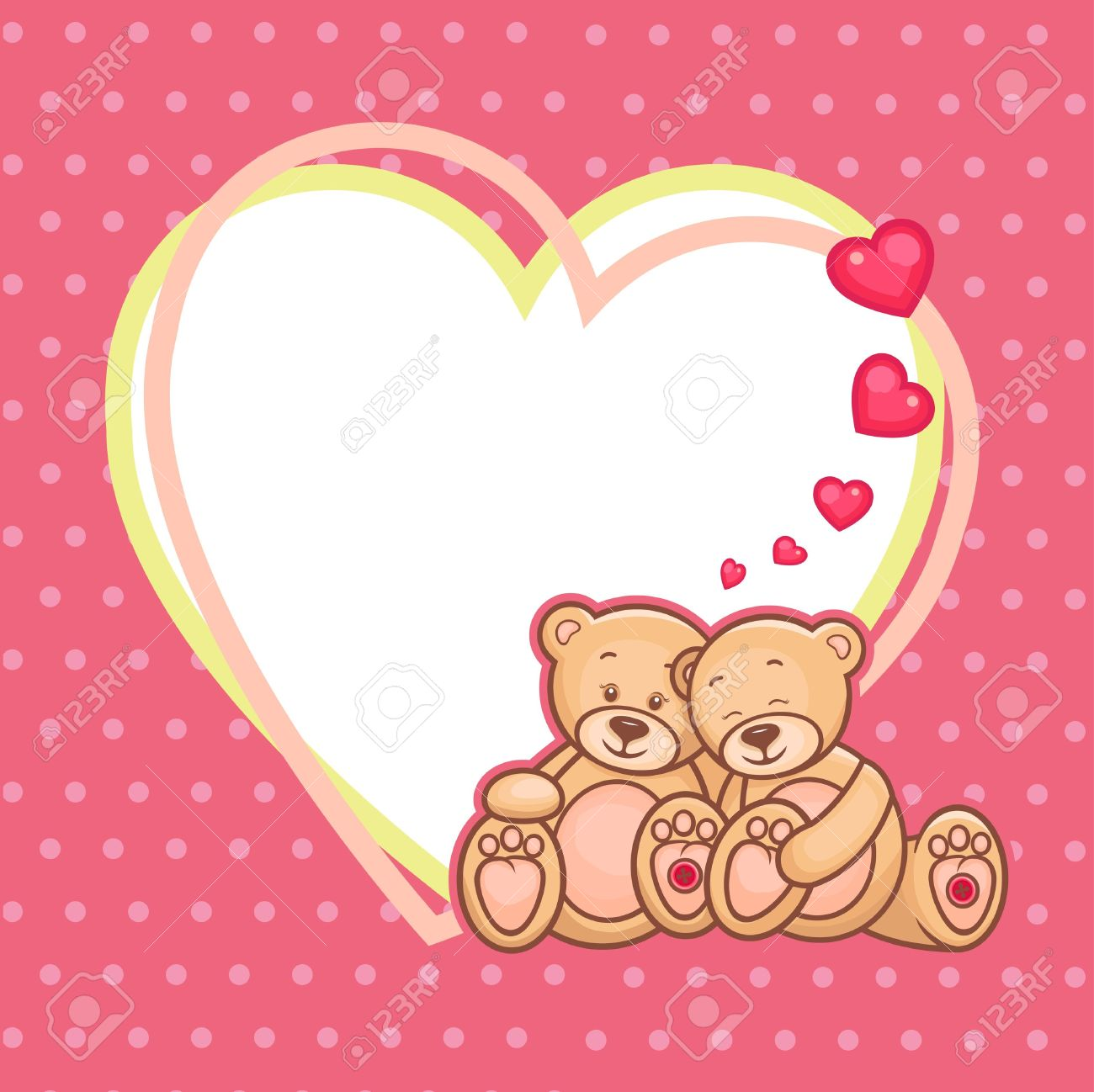 Cute Teddy Bears And Big Heart, Illustration Stock Vector   18621429