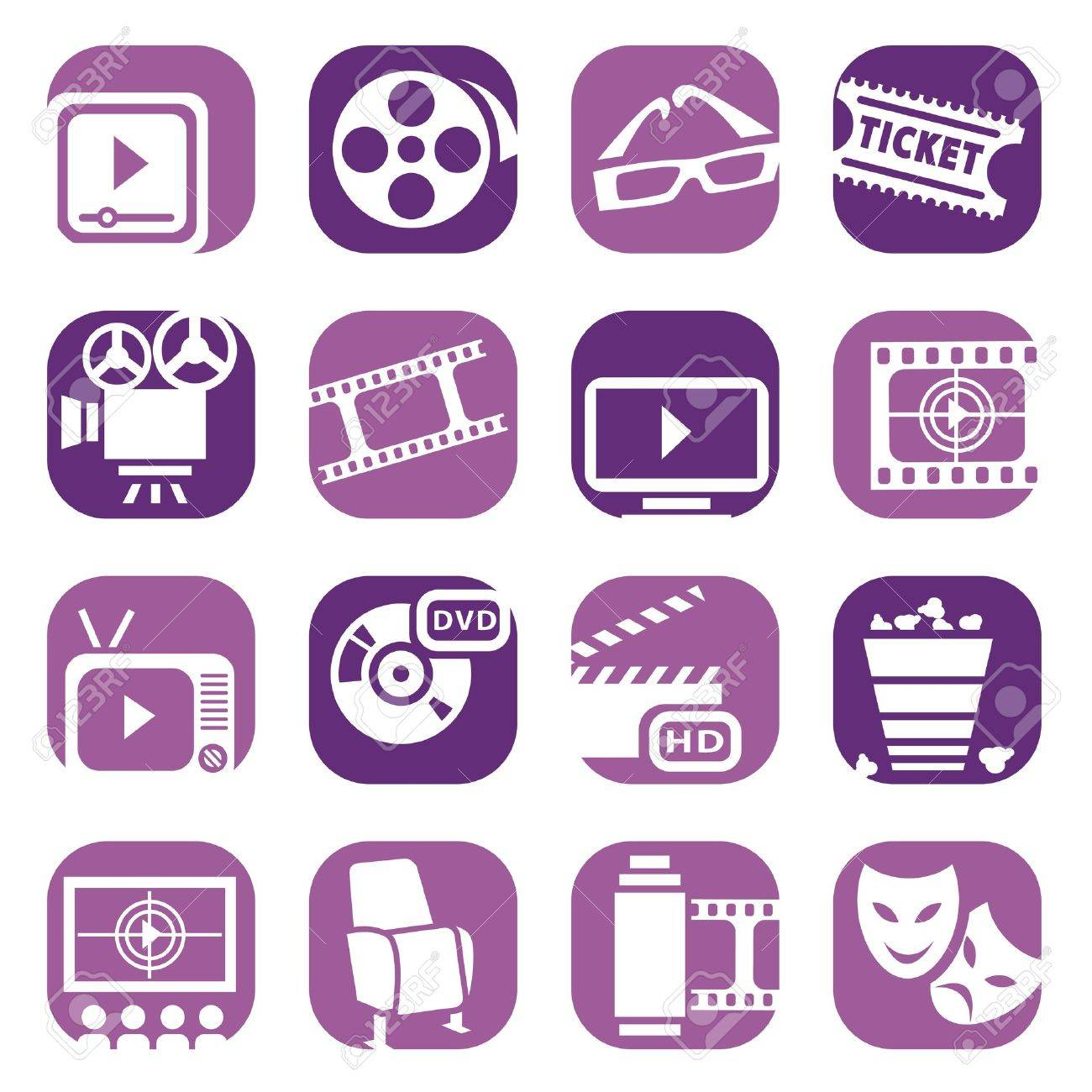 Color Cinema Icons Set Created For Mobile, Web And Applications - 18842067