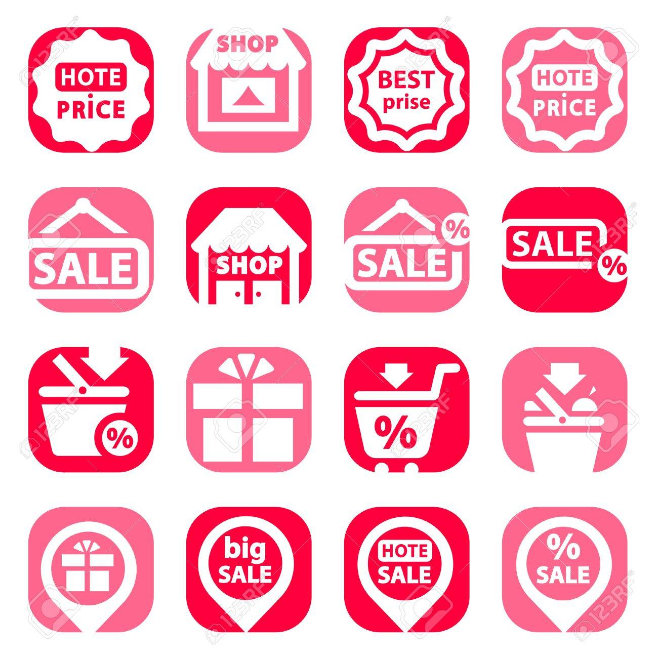 Color Shopping Icons Set Created For Mobile, Web And Applications Stock Vector - 19797338