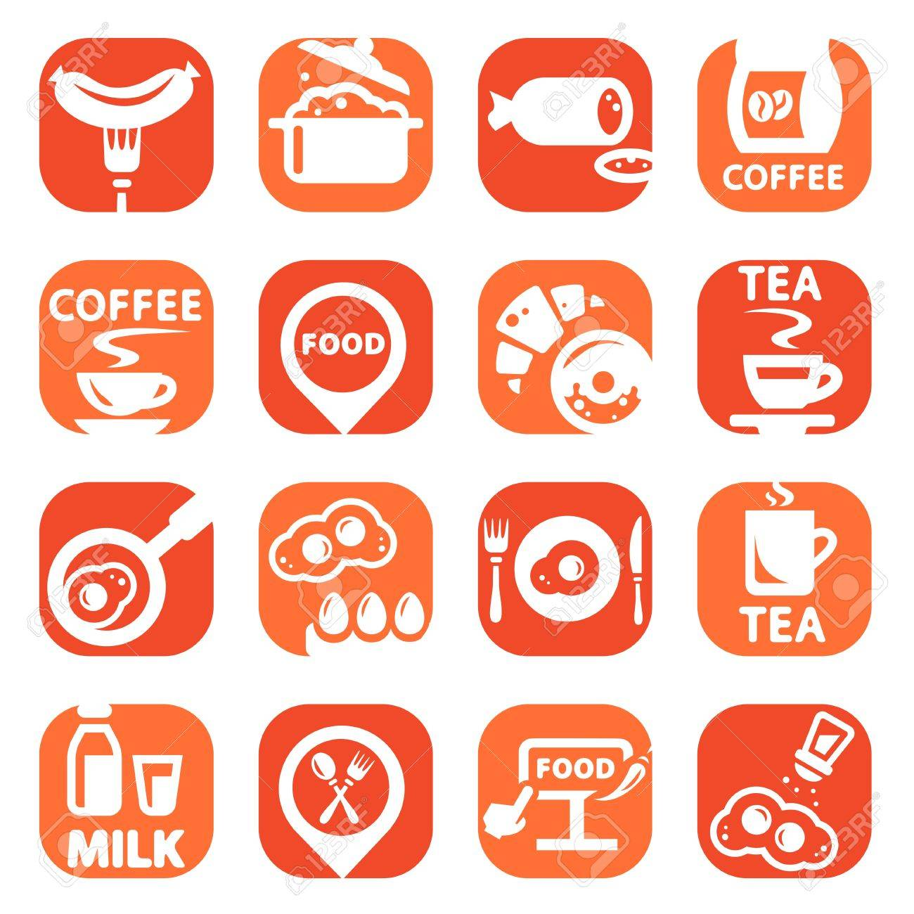 Color Food Vector Icons Set Created For Mobile, Web And Applications Stock Vector - 19797340