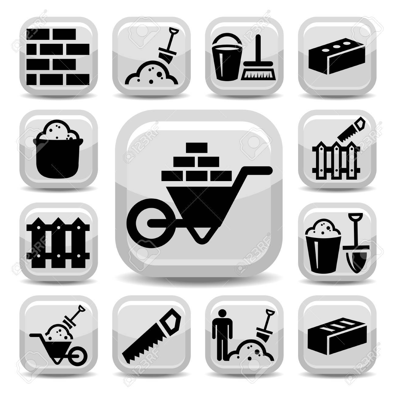 Elegant Bricklayer Icons Set Created For Mobile, Web And Applications Stock Vector - 20785359